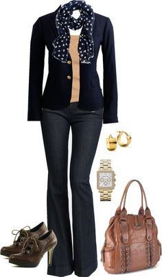 """Navy and camel"" by luv2shopmom ❤ liked on Polyvore"