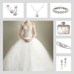 The unique Crestwood earrings, Ashcroft pendant, Masterson Bracelet, Sophia clutch, Emily headband and Brent earrings with Eve of Milady bridal gown. Save 10% using promo code: pinterest10 at adorn.com ... bridal accessories, wedding day jewelry, diamond earrings, diamond necklace, diamond jewelry, swarovski crystal clutch