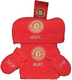 Manchester United Infants MUFC Red Fleece Hat Scarf Mittens set