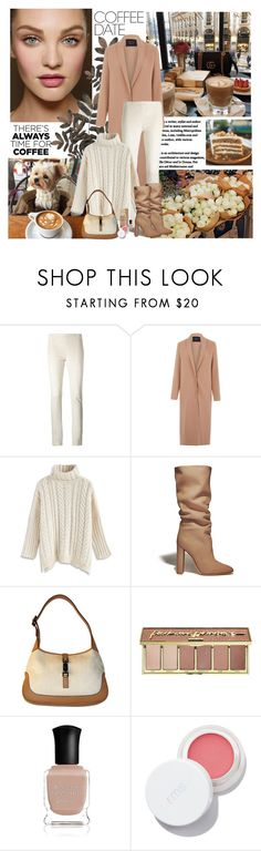 """""""Buzz-Worthy: Coffee Date"""" by dezaval ❤ liked on Polyvore featuring Joseph, Lanvin, Chicwish, Gianvito Rossi, Gucci, tarte and Deborah Lippmann"""