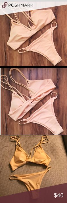 Strappy String Bikini Set Nude colored bikini set. So adorable but the tip was a little too big for my chest :/ Lightly padded. New, never worn. Swim Bikinis