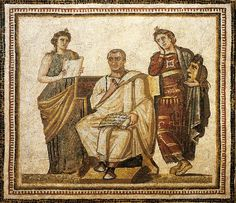 Tunisia, Susa, Mosaic work depicting the poet Virgil (Publius Vergilius Maro, 70 A.C... - 19 A.C...) writing the Aeneid sitting between the muses Clio and Melpomene 4th century A.D., Tunisia, Tunis, Musee National Du Bardo.     ©De Agostini/The British Library Board. 87005921