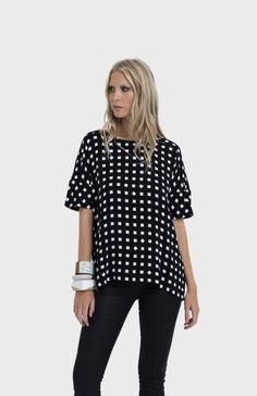 Back yoke, Square tunic, extended arms, wide band for short sleeve. Swing fit, drop hem at back Elk Accessories, Work Fashion, Polka Dot Top, Tunic, Tile, Clothes, Shopping, Arms, Label
