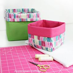 sew a basket Small Sewing Projects, Sewing Projects For Beginners, Sewing Hacks, Sewing Tutorials, Sewing Patterns, Sewing Pattern Storage, Tutorial Sewing, Bag Tutorials, Purse Patterns