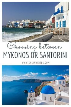 Trying to decide if you should choose between Mykonos or Santorini? Here is a little guide to help you decide between these two Greek beauties. Europe Destinations, Europe Travel Guide, Travel Guides, Backpacking Europe, Budget Travel, Greece Vacation, Greece Travel, Greece Trip, Greek Islands Vacation