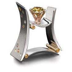 MARK SCHNEIDER | Platinum, 18k rose gold ring, natural yellow orange coloured diamond, natural colour and white diamonds. | {ʝυℓιє'ѕ đιåмσиđѕ&ρєåɾℓѕ}