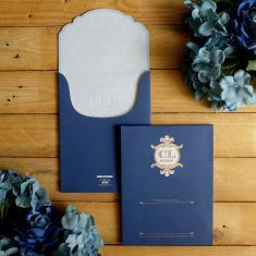 Classic navy blue and gold  wedding invitation | Project by YOE'S CARD http://www.bridestory.com/yoes-card/projects/chandra-lidwina1432889517