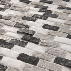 SomerTile 12x11.5-inch Griselda Subway 0.625x1.5-inch Charcoal Natural Stone Mosaic Tiles (Pack of 10) - Overstock Shopping - Big Discounts on Somertile Wall Tiles