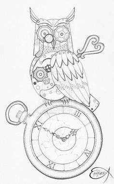 The original drawing of my clockwork owl here [link] you can find the digital postproduction technique: ink and pencil on paper Steampunk Clockwork Owl WIP Art Sketches, Art Drawings, Steampunk Drawing, Steampunk Animals, Illustrations, Illustration Art, Steampunk Accessories, Coloring Book Pages, Creations