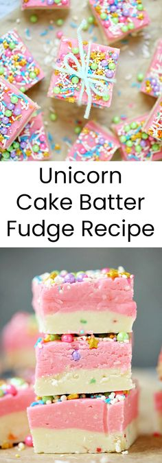 This simple, decadent, Unicorn Cake Batter Fudge recipe is everything little girls dream of. Enchanting and magical with a rainbow of bright colors from sprinkles and mini pearls, you can't help but smile at this dessert every time you look at it.