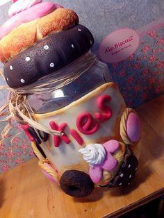 pote de vidro de 1,2l (P) decorado em biscuit