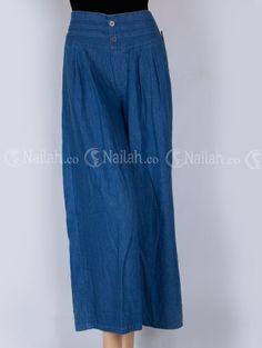 Kulot Ban Polos Semi Jeans pinggang karet belakang Harga Rp. 105.000,-  Order: Hp: 081315351727 BB: 748A8C99