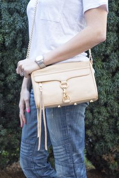 This nude Rebecca Minkoff crossbody bag with gold hardware is so chic and perfect for spring. It's just the right size... not too big or too small. It will fit your lipstick, iPhone, wallet... all the essentials!