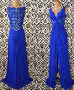 Elegant Prom Dress,Royal Blue Lace Chiffon Evening Dress,Long #prom #promdress #dress #eveningdress #evening #fashion #love #shopping #art #dress #women #mermaid #SEXY #SexyGirl #PromDresses