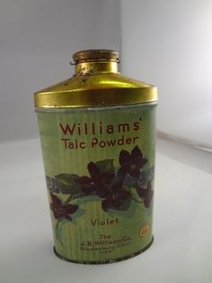 WILLIAMS VIOLET FULL VINTAGE TALC TIN TALCUM POWDER