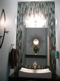 diy backlit mirror and modified floating vanity using kitchen cabinet