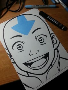 #Aang 's #fanart #portrait from #avatarthelastairbender !  I love how this #character developes during all the three seasons from an innocent child to a well-matured boy, almost Always mantaining his good side and #optimism ! #blue #smile #aang #arrow #avatarthelastairbender #character #copicmarker #fanart #optimism #portrait #traditionalart #aangavatar