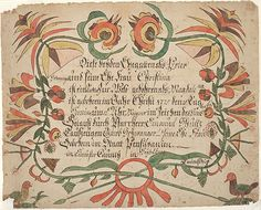 Title: Birth and Baptismal Certificate (Geburts und Taufschein) for Magdalena Schwanger Category: Birth and Baptismal Certificate (Geburts und Taufschein) Creators: Decorator: [Arnold Hoevelmann (1749-1804)] Scrivener: [Arnold Hoevelmann (1749-1804)] Creation Place: Town/Township: Heidelberg Township County: Lancaster [now Lebanon] State/Province: Pennsylvania Note: Based on location of birth Creation Date: ca. 1790