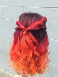 Unbelievable sunset color melt fire hair joico intensity balayage red pics for auburn concept and hills mi trends Red Ombre, Ombre Hair Color, Hair Color Balayage, Cool Hair Color, Haircolor, Orange Ombre Hair, Ombre Curly Hair, Best Ombre Hair, Curly Hair Styles