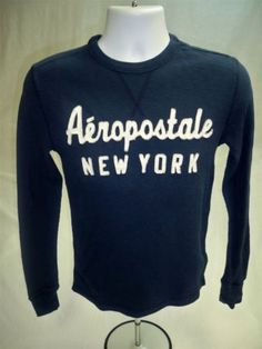 Aeropostale-Mens-Long-Sleeve-Casual-Shirt-Navy-size-XS-Aero-New-with-tags