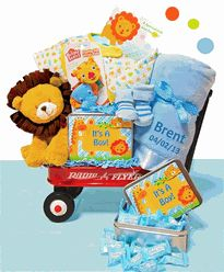 Baby Boy Gift Baskets | Personalized Baby Gift Baskets - Jungle Jamboree Baby Boy Gift Set - $124.95 Its a fun Jungle Jamboree going on to celebrate the new baby boys arrival! The new mom and dad are sure to love this adorable red wagon full of jungle themed baby gifts for their new little boy.