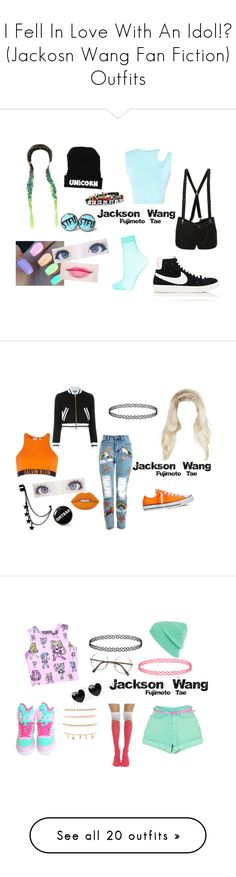 """I Fell In Love With An Idol!? (Jackosn Wang Fan Fiction) Outfits"" by maddie-213 on Polyvore featuring mode, Abbey Dawn, Thierry Mugler, Hot Topic, Topshop, NIKE, Converse, Lime Crime, Calvin Klein en Moschino"
