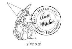 halloween rubber stamps | Happy Halloween Best Witches Rubber Stamp featuring original art by ...