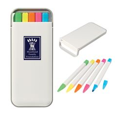 This is such a cute way to advertise your business! This 5 pack highlighter set comes in it's own little tin case and is great for taking to class. A perfect size for your back pack or desk drawer. Customize your case for a fun promo item!