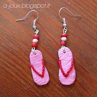"""a-joux: orecchini in fimo """"flip-flops"""" (""""flip-flops fimo earrings)"""