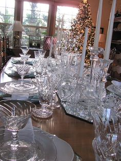 Goodwill/ Thrift store glass - LOVE...do all crystal  at Christmas...with candles everything sparkles.