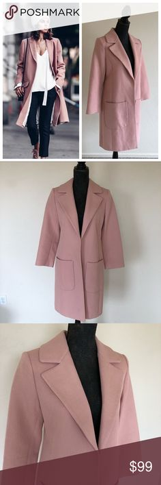 "Dusty Pink Coat Beautiful pink coat by Emerson Rose for Nordstrom. Such a classy piece that can be dressed up or down. Sleeves measure 22"" from shoulder to hem. Brand new with tags Emerson Rose Jackets & Coats"