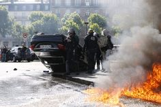 French taxi drivers are on strike throughout the country to protest against UberPop, one of the services offered by the American online cab-hailing service Uber.