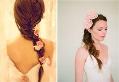 beautiful wedding hair - loose side braid with flowers