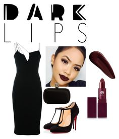 """Dark Lips"" by love-elee ❤ liked on Polyvore featuring beauty, Victoria Beckham, Christian Louboutin, Surratt, Lipstick Queen and Alexander McQueen"