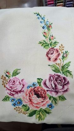 This Pin was discovered by sez Cross Stitch Letters, Cross Stitch Borders, Cross Stitch Rose, Cross Stitch Samplers, Modern Cross Stitch Patterns, Cross Stitch Flowers, Cross Stitch Charts, Cross Stitch Designs, Rose Embroidery