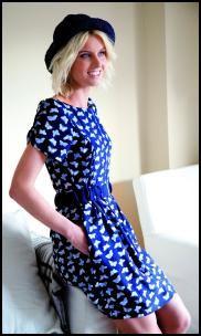 Cobalt Blue White Butterfly Dress.