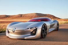 Renault Trezor electric GT concept, showcases future design cues and technologies. Renault Trezor concept unveiled at the Mondial De L'Automobile Paris Auto Design, Design Autos, Concept Cars, Supercars, Paris, Electric Sports Car, Electric Vehicle, Electric Motor, Flying Car