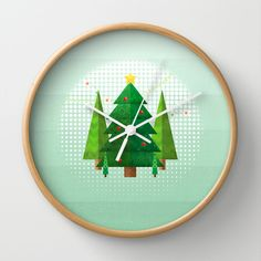 Geometric Christmas Trees Wall Clock