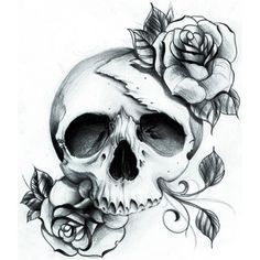 Skull/Rose w-Hear/see/speak NO EVIL + style of skull, black white, shading w/ bold color.