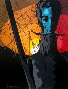 """""""Quijote"""". Acrílico sobre canvas. Esta pieza formó parte de la exposición """"Iconos"""" de Ektor Rivera."""