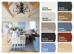 Cottage Living Room's Color Palette of White, Grey and Blue