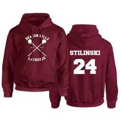 Beacon Hills Lacrosse Logo Wolf Men Hooded Hoodie TeenWolf Stiles Stilinski Teen Sweatshirt Men Pullover Front And Back Printing