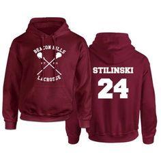 Beacon Hills Lacrosse Logo Wolf Men Hooded Hoodie TeenWolf Stiles Stilinski Teen Sweatshirt Men Pullover Front And Back Printing