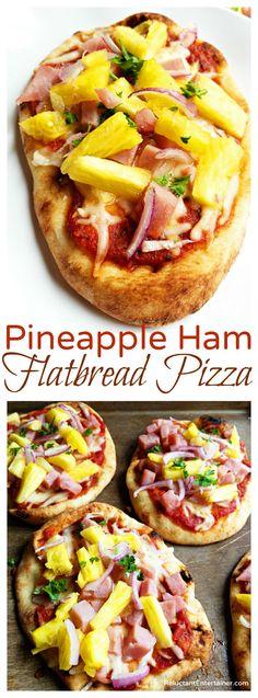 Pineapple Ham Flatbread Pizza Recipe Flatbread Pizza Recipes, Healthy Pizza Recipes, Cooking Recipes, Easy Recipes, Grilled Flatbread Pizza, Flatbread Sandwiches, Healthy Foods, Pizza Snacks, Ham And Pineapple Pizza