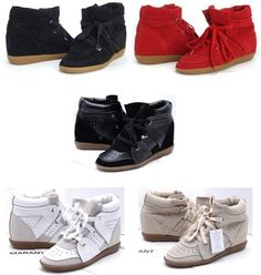 92389577cb1e1 Wholesale Designer Women Isabel Marant Bobby Suede Wedge Sneakers Lace-up  Genuine Leather Shoes Height Increase Medium Top Boots