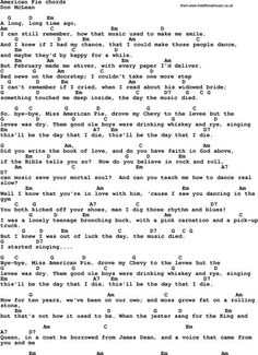 Song Lyrics with guitar chords for American Pie