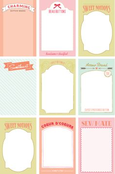 Button Cards - Free PDF Printable_Could use as scrapbook journaling cards Printable Labels, Printable Paper, Free Printables, Project Life Cards, Project Life Freebies, Button Cards, Journal Cards, Junk Journal, Smash Book