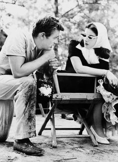 James Dean with Pier Angeli on the set of East of Eden, 1955