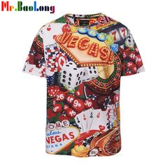 Mr.BaoLong Men T shirt Funny Las Vegas Gambling tools Printed T-shirt Summer Novel tshirt Which Can Bring Good Luck