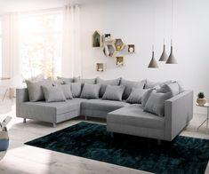 DELIFE Wohnlandschaft Clovis Grau Flachgewebe Modulsofa, Design Wohnlandschaften, Couch Loft, Modulsofa, modular 12089